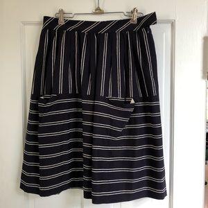 Anthropologie Maeve Navy/White Striped Skirt, 4